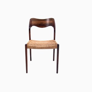 Danish Rosewood Model 71 Dining Chairs by Niels Otto Møller, 1950s, Set of 6