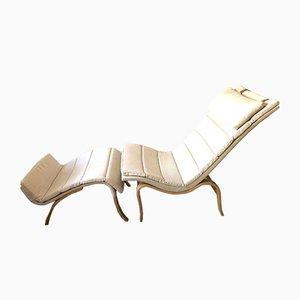 Modell Vilstol Modell 36 Sessel mit Hocker von Bruno Mathsson für Firma Karl Mathsson, 1941
