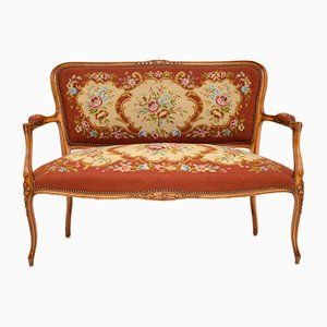 Antique French Needlepoint Salon 2-Seat Sofa