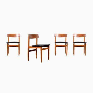 Mid-Century Modern Teak Dining Chairs, 1960s, Set of 4