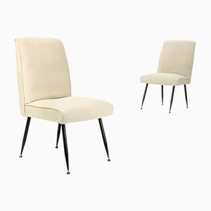 Off-White Upholstered Dining Chairs, 1950s, Set of 2