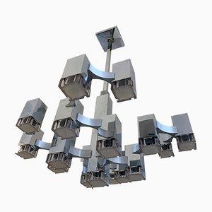 Lustre Cubique par Gaetano Sciolari pour Sciolari, Italie, 1970s