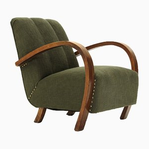 Armchair in Green Fabric & Wooden Armrests, 1930s