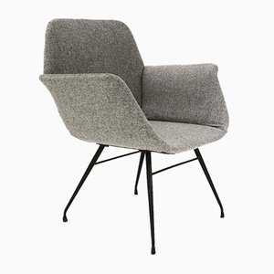Armchair in Grey Fabric, 1950s