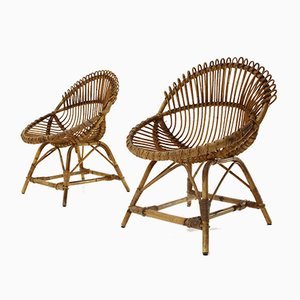 Rattan Armchairs, 1950s, Set of 2