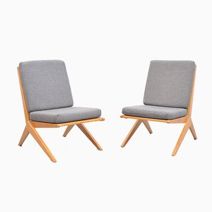 Mid-Century Ash Scissor Chairs with Back Part in Sisal Attributed to Pierre Jeanneret, Set of 2