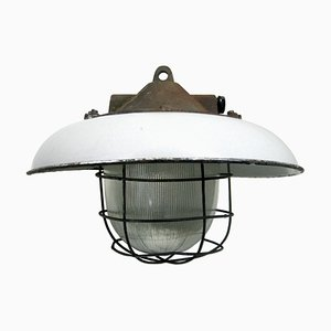 Mid-Century Industrial White Enamel, Cast Iron & Gass Pendant Lamp from Holophane