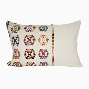 White Turkish Kilim Cushion Cover
