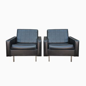Vintage Black Leatherette Lounge Chairs with Metal Structure, 1970s, Set of 2