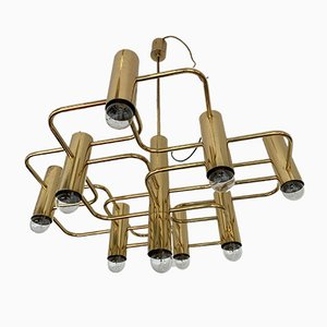 Belgian Brass Chandelier by Gaetano Sciolari for Boulanger, 1970s