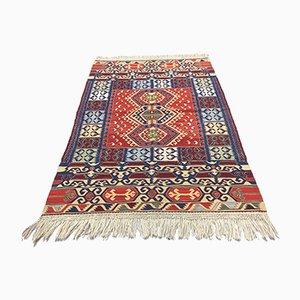 Vintage Turkish Blue, Red, Beige & Gold Wool Kilim Rug, 1960s