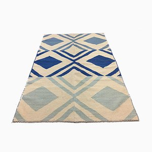 Vintage Turkish Blue & Beige Wool Tribal Kilim Rug, 1960s