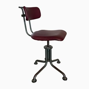 Vintage Industrial Tubular Steel Swivel Desk Chair from Gispen, 1930s