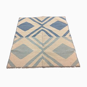 Vintage Turkish Blue & Beige Wool Square Tribal Kilim Rug, 1960s