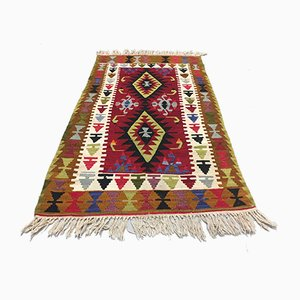 Vintage Turkish Red, Brown, Green & Beige Wool Kilim Rug, 1960s