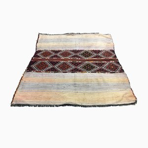 Vintage Turkish Blue & Beige Wool Square Tribal Kilim Rug, 1960s