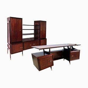 Mid-Century Mahogany Desk & Bookcase from La Permanente Mobili Cantù, 1950s, Set of 2