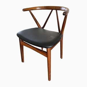 Vintage Scandinavian Mahogany & Skai Side Chair by Henning Kjerulf for Bruno Hansen, 1950s