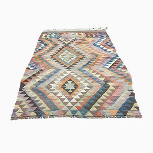 Türkischer Vintage Kelim Teppich aus Rosa, Beige & Grüner Wolle, 1960er