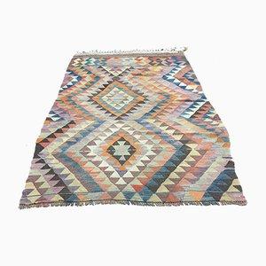 Vintage Turkish Pink, Beige & Green Wool Tribal Kilim Rug, 1960s