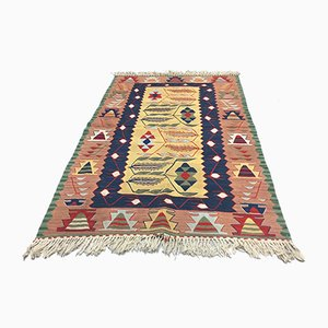 Vintage Turkish Beige, Blue, Pink & Yellow Wool Tribal Kilim Rug, 1960s