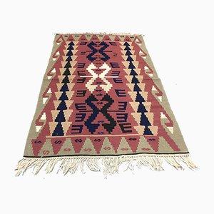 Vintage Turkish Red, Blue, Okra Green & Grey Wool Tribal Kilim Rug, 1960s
