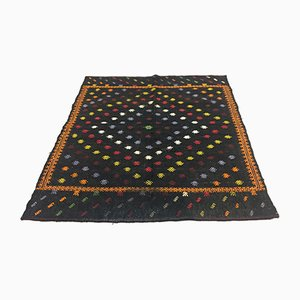 Vintage Turkish Black & Gold Wool Square Tribal Kilim Rug, 1960s