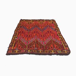 Vintage Turkish Colorful Red, Pink & Orange Wool Square Tribal Kilim Rug, 1960s