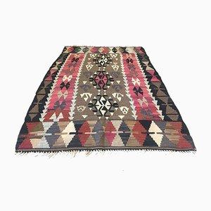 Quadratischer Türkischer Vintage Kelim Teppich in Rot, Pink & Orange aus Wolle, 1960er