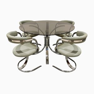 Mid-Century Chrome Dining Table & Chairs Set, 1970s, Set of 5