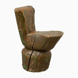 Sedia da pastore rustica in tronchetto, anni '20