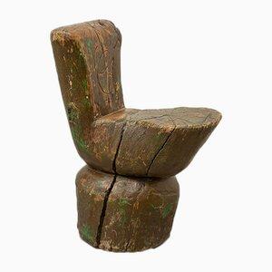 Silla de pastor rústica hecha de tronco, años 20