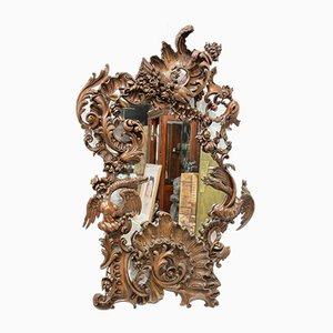 Antique American Cornucopia Carved Wooden Mirror
