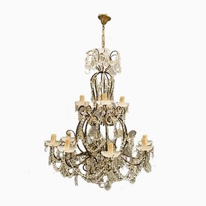 Italian Crystal Chandeliers, 1950s, Set of 2
