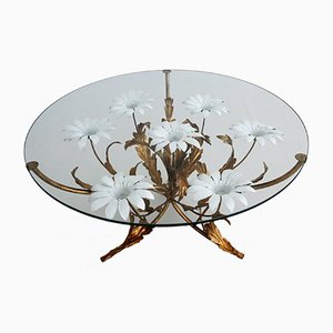 Golden Table with White Flowers by Hans Kögl, 1970s