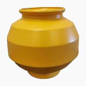 Gelbe Geometrische Mid-Century Vase von Saint Clément