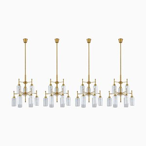 Swedish Chandelier in Brass and Glass by Holger Johansson for Westal, 1960s