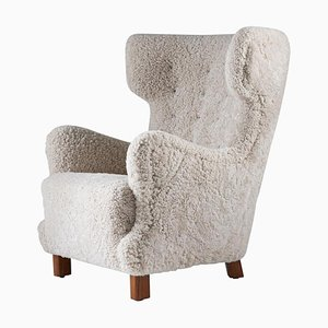 Mid-Century Danish Lounge Chair in Sheepskin, 1940s