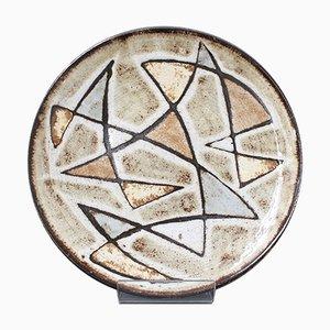 Dekorativer Mid-Century Keramik Teller von Robert Perot von Vieux Moulin, 1950er