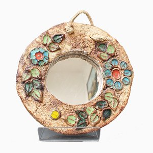 Small Ceramic Flower-Motif Wall Mirror by La Roue for Vallauris, France, 1960s