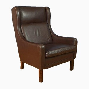 Mid-Century Danish Brown Leather Wingback Armchair, 1970s