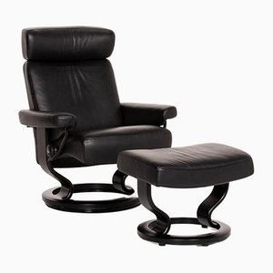 Black Leather Armchair & Stool from Stressless, Set of 2