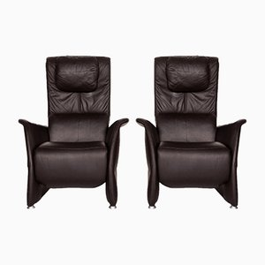 Dark Brown Leather Armchairs from Himolla, Set of 2