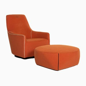 Orange Leather Portofino Armchair & Stool by Rodolfo Dordoni for Minotti, Set of 2