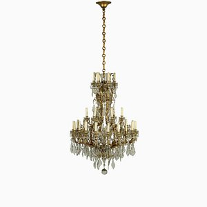 Italian Neoclassical Style Gilded Bronze and Glass Chandelier