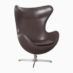 Brown Leather Egg Chair, 2010