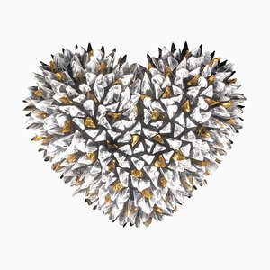 Cuore Heart Coral Color Shaped Light Sculpture by Peppino Campanella, 2000s