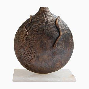 Runde Vase aus Dunkler Bronze