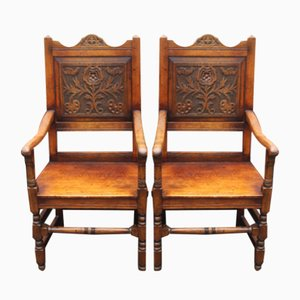Antique Oak Carver Armchairs with Tudor Rose Motif, 1900s, Set of 2
