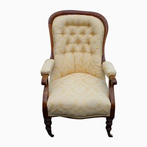Buttoned Back Mahogany Armchair with Gold Upholstery, 1880s